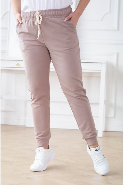 beżowe spodnie dresowe plus size