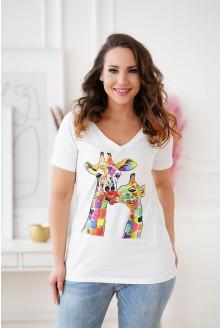 biały t-shirt Sasha z wzorem