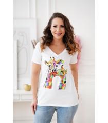 Biały t-shirt z krótkim rękawem - wzór żyrafy - SASHA