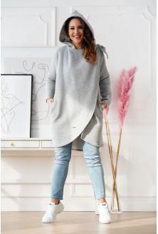 Jasnoszara ciepła bluza plus size z kapturem - NEVA
