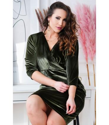 Oliwkowa welurowa sukienka z kopertowym dekoltem - LISHA