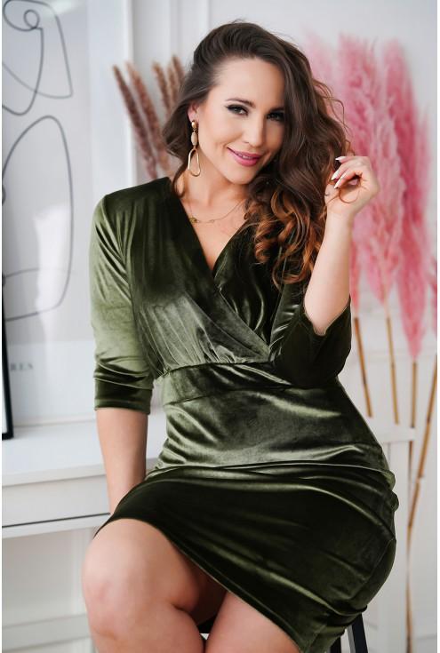 oliwkowa dopasowana sukienka Lisha XXL