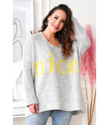 Szary sweter z żółtym napisem - NICE