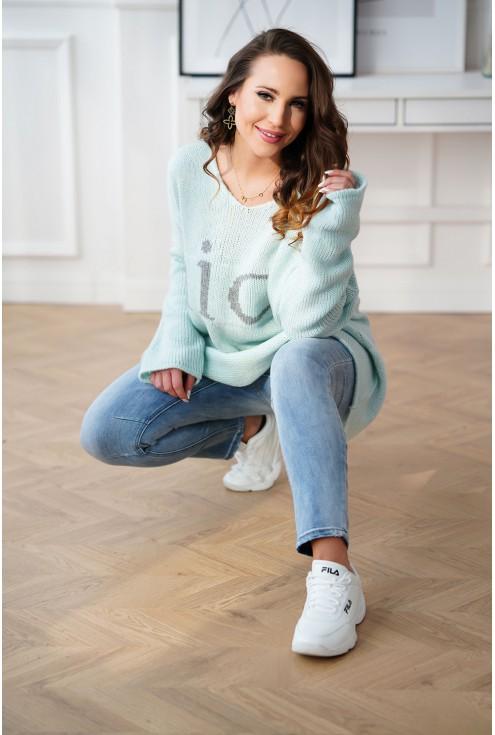 morski sweter z szarym napisem XXL