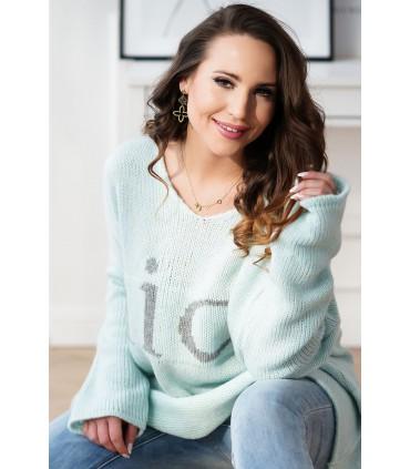 Morski sweter z szarym napisem - NICE