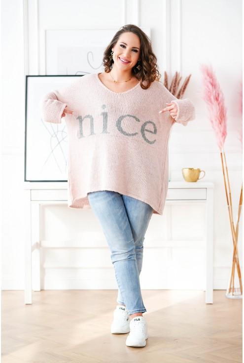 pudrowy sweter plus size Nice