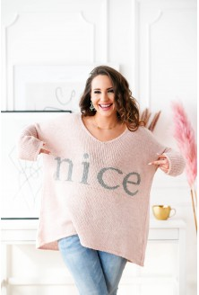 pudrowy sweter plus size