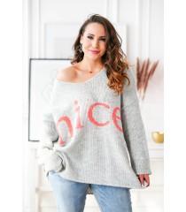 Szary sweter z pomarańczowym napisem - NICE