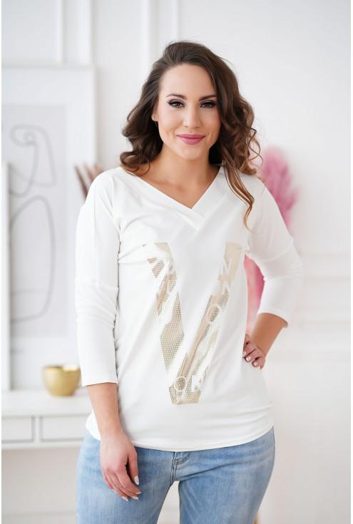 Biała bluzka ze złotym nadrukiem