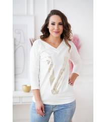 Biała bluzka ze złotym nadrukiem - MELODIE