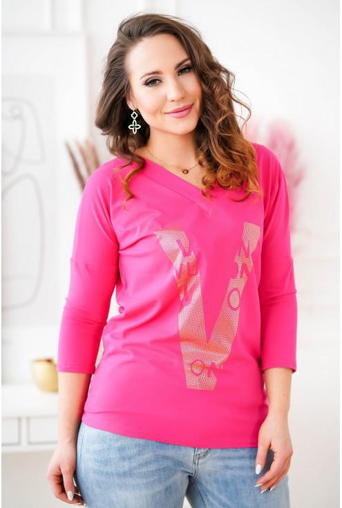 różowa bluz z dekoltem V