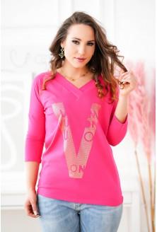 Różowa bluzka ze złotym nadrukiem