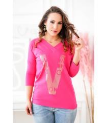 Różowa bluzka ze złotym nadrukiem - MELODIE