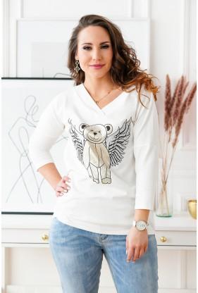Biała bluzka z misiem ze skrzydłami