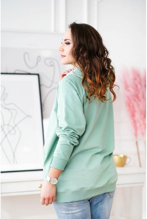 bluza plus size w kolorze miętowym z kapturem