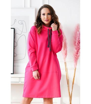 Amarantowa tunika/sukienka z półgolfem i troczkami - NATIA