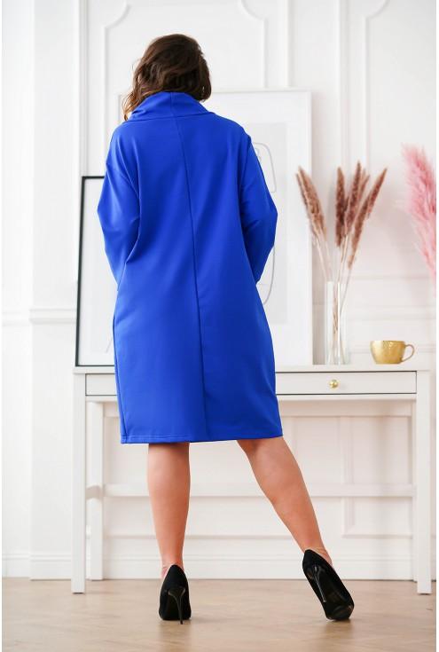 tył chabrowej dresowej sukienki Natia plus size