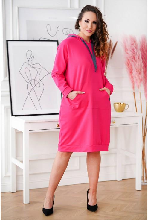 dresowa sukienka plus size Martina z kapturem