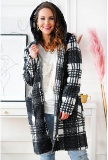 Biało-czarny płaszcz oversize w kratkę