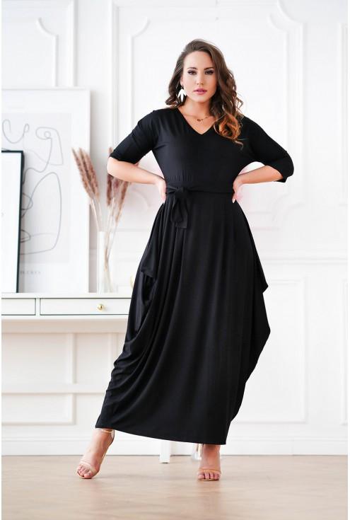 czarna sukienka maxi XXL