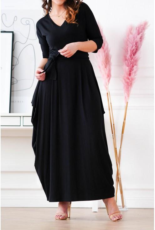 czarna sukienka maxi XXL Claudine