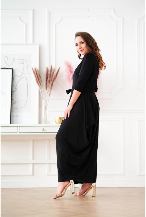 Czarna sukienka maxi z dekoltem V
