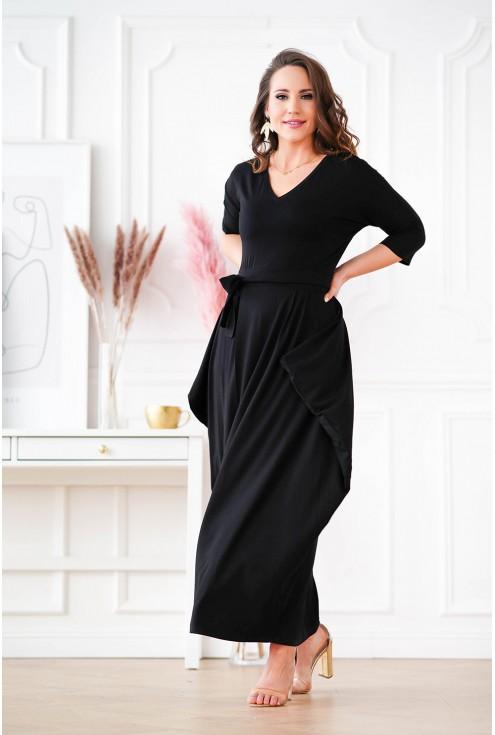 długa czarna sukienka z wiązaniem