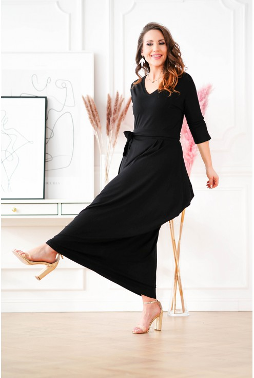 Czarna sukienka maxi z dekoltem V -  CLAUDINE