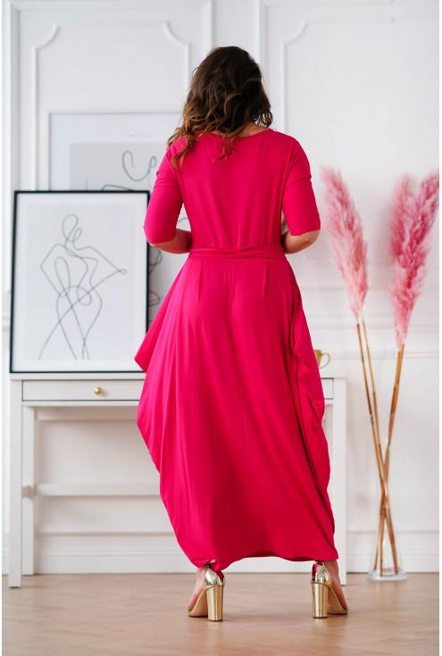 tył różowej sukienki z luźnym dołem Claudine