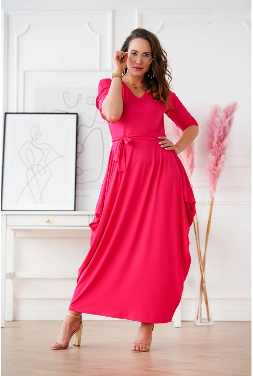 różowa sukienka maxi XXL