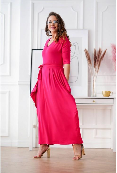 różowa sukienka plus size długa