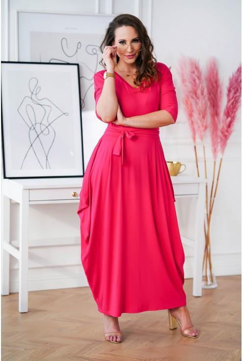 długa różowa sukienka z dekoltem V