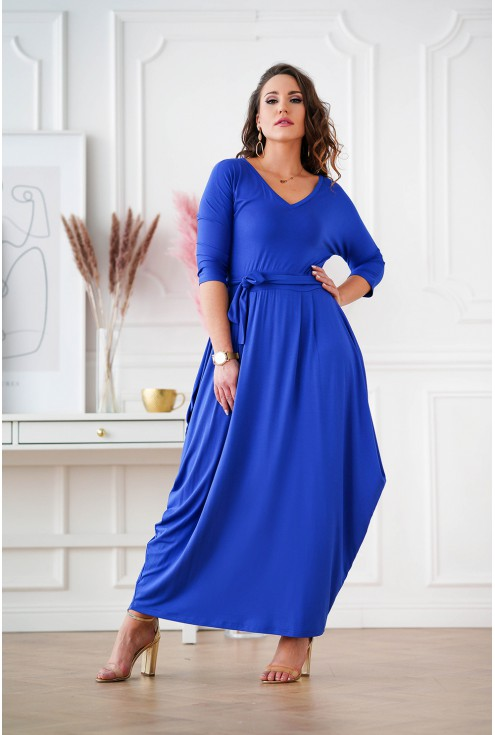 sukienka maxi z dekoltem V plus size