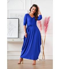 Chabrowa sukienka maxi z dekoltem V - CLAUDINE