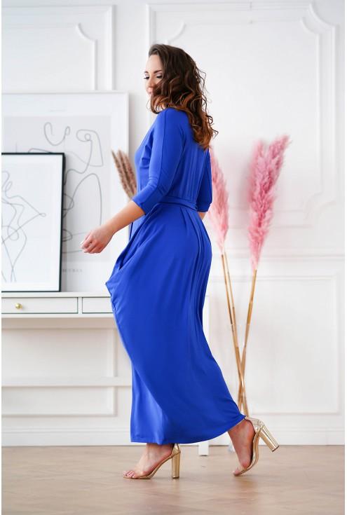 długa sukienka z wiązaniem w talii