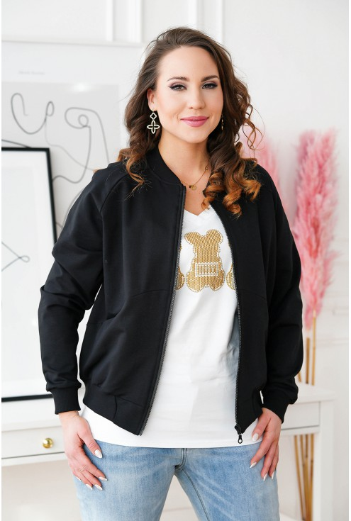 czarna bluza dresowa ze ściągaczem
