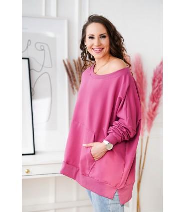 Ciemno-różowa bluza oversize ze ściągaczami - CAMISA