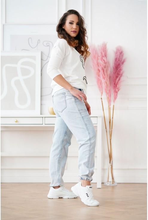 Jasne jeansy ze ściągaczami u dołu - RAFFI