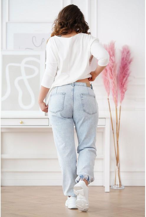 jeansy ze ściągaczami u dołu XXL