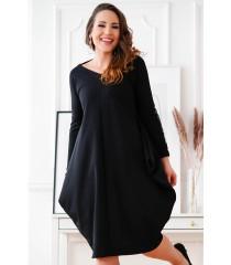 Czarna sukienka oversize z wiązaniem na plecach - VIKI