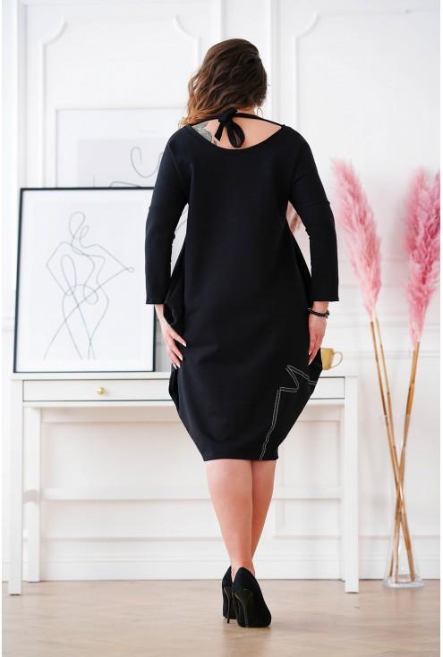 czarna dresowa sukienka Viki