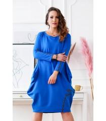 Chabrowa sukienka oversize z wiązaniem na plecach - VIKI