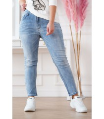 Jasne jeansy z szyciami na kolanach - NATALY