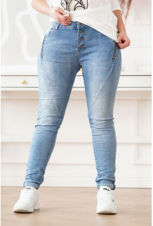 jasne jeansy z suwakami XXL