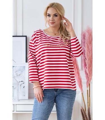 Biało-czerwona bluzka w paski z napisem - KIARA