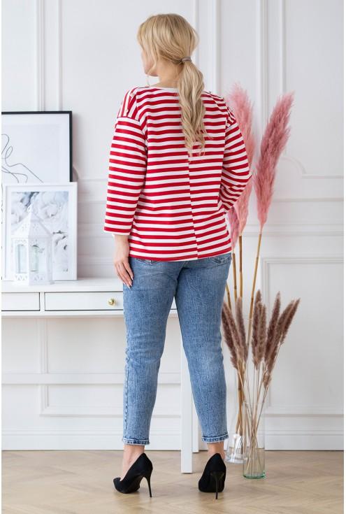 Tył bluzki w biało-czerwone paski