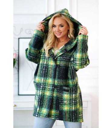 Zielono-czarny płaszcz oversize z kapturem TIFFANY