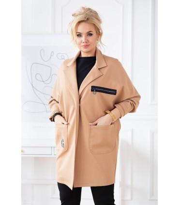 Jasny karmelowy elegancki płaszczyk plus size z długim rękawem - DELLA