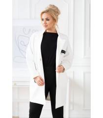 Biały elegancki płaszczyk plus size z długim rękawem - DELLA