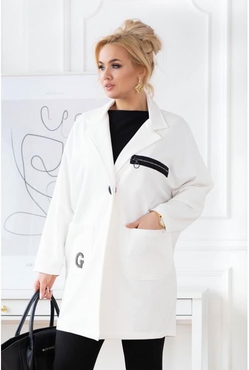 biały płaszczyk plus size xxl